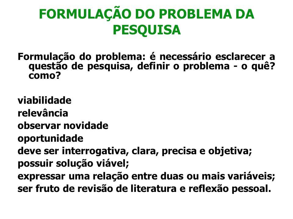 FORMULAÇÃO DO PROBLEMA DA PESQUISA Formulação do problema: é necessário esclarecer a questão de pesquisa, definir o problema - o quê? como? viabilidad