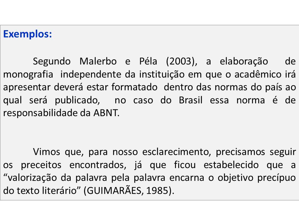 Exemplos: Segundo Malerbo e Péla (2003), a elaboração de monografia independente da instituição em que o acadêmico irá apresentar deverá estar formata