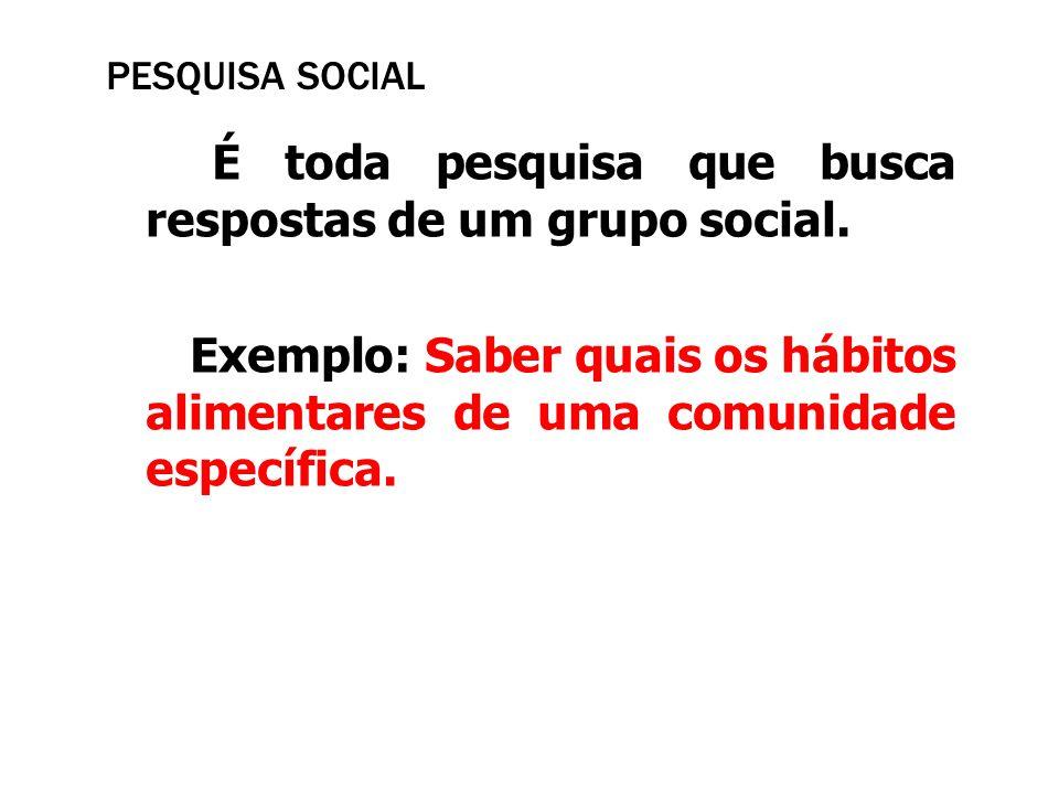 PESQUISA SOCIAL É toda pesquisa que busca respostas de um grupo social. Exemplo: Saber quais os hábitos alimentares de uma comunidade específica.