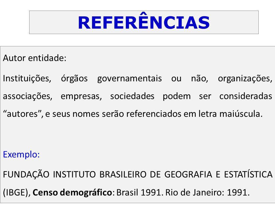"""Autor entidade: Instituições, órgãos governamentais ou não, organizações, associações, empresas, sociedades podem ser consideradas """"autores"""", e seus n"""