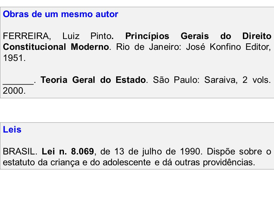 Obras de um mesmo autor FERREIRA, Luiz Pinto. Princípios Gerais do Direito Constitucional Moderno. Rio de Janeiro: José Konfino Editor, 1951. ______.