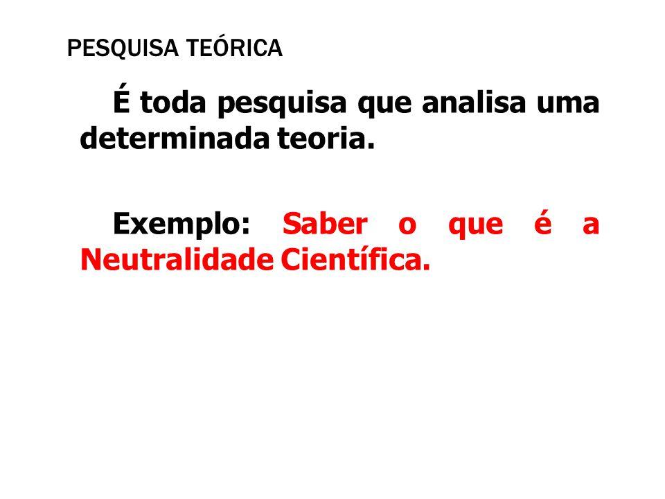 PESQUISA TEÓRICA É toda pesquisa que analisa uma determinada teoria. Exemplo: Saber o que é a Neutralidade Científica.
