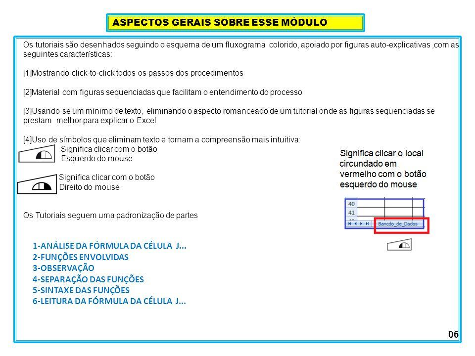 Os tutoriais são desenhados seguindo o esquema de um fluxograma colorido, apoiado por figuras auto-explicativas,com as seguintes características: [1]Mostrando click-to-click todos os passos dos procedimentos [2]Material com figuras sequenciadas que facilitam o entendimento do processo [3]Usando-se um mínimo de texto, eliminando o aspecto romanceado de um tutorial onde as figuras sequenciadas se prestam melhor para explicar o Excel [4]Uso de símbolos que eliminam texto e tornam a compreensão mais intuitiva: Significa clicar com o botão Esquerdo do mouse Significa clicar com o botão Direito do mouse Os Tutoriais seguem uma padronização de partes ASPECTOS GERAIS SOBRE ESSE MÓDULO 06 1-ANÁLISE DA FÓRMULA DA CÉLULA J...
