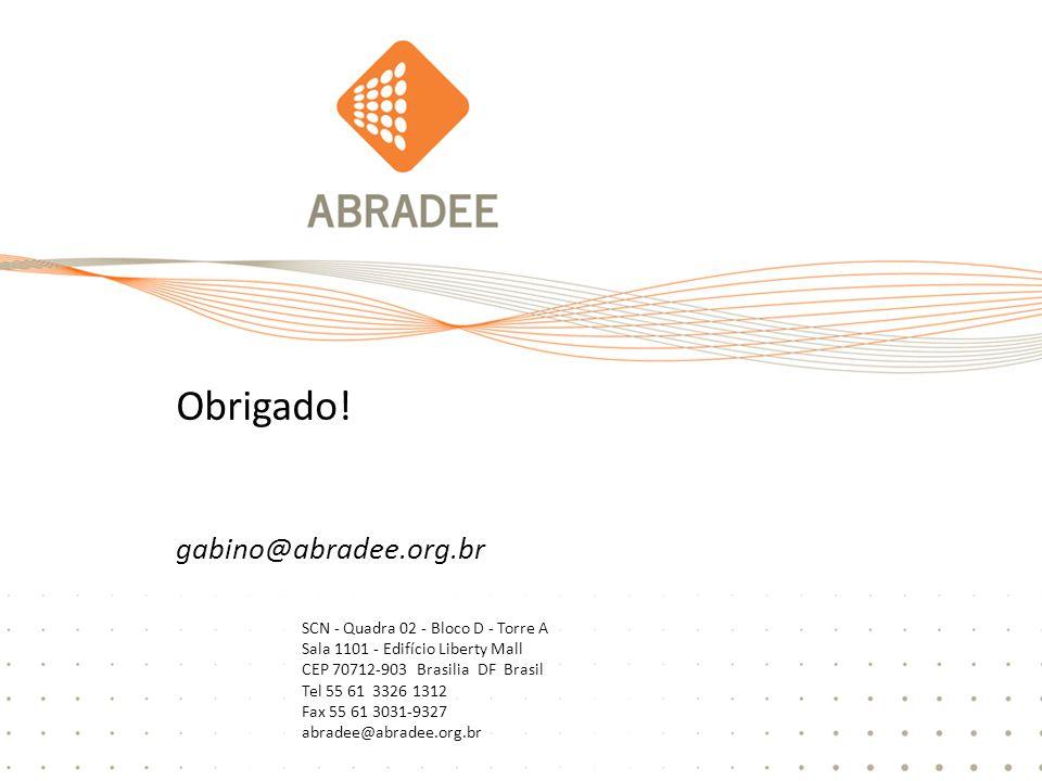 16 SCN - Quadra 02 - Bloco D - Torre A Sala 1101 - Edifício Liberty Mall CEP 70712-903 Brasilia DF Brasil Tel 55 61 3326 1312 Fax 55 61 3031-9327 abradee@abradee.org.br Obrigado.