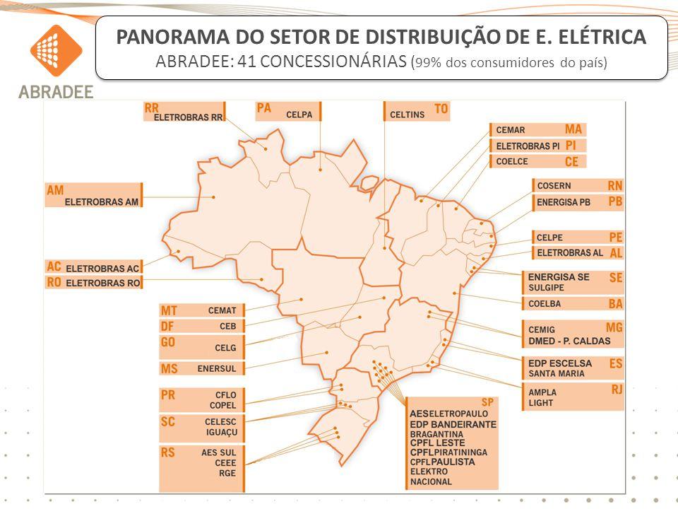 3 PANORAMA DO SETOR DE DISTRIBUIÇÃO DE E. ELÉTRICA ABRADEE: 41 CONCESSIONÁRIAS ( 99% dos consumidores do país)