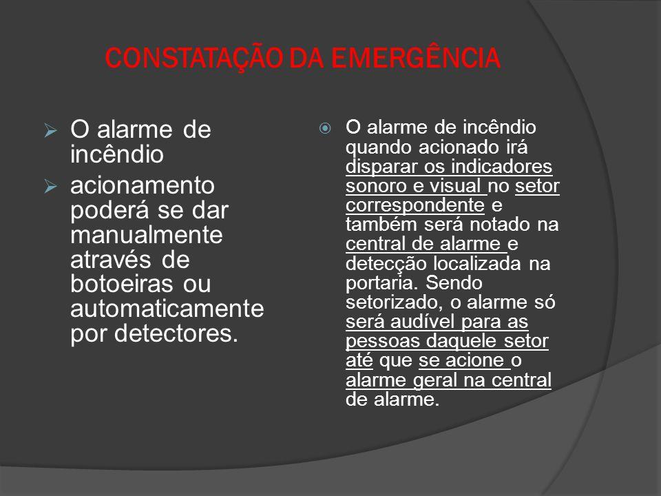 CONSTATAÇÃO DA EMERGÊNCIA  O alarme de incêndio  acionamento poderá se dar manualmente através de botoeiras ou automaticamente por detectores.  O a