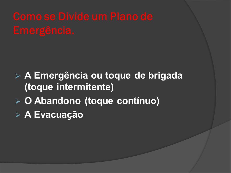 Como se Divide um Plano de Emergência.  A Emergência ou toque de brigada (toque intermitente)  O Abandono (toque contínuo)  A Evacuação