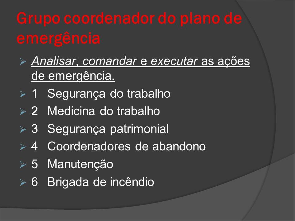 Grupo coordenador do plano de emergência  Analisar, comandar e executar as ações de emergência.  1Segurança do trabalho  2Medicina do trabalho  3S
