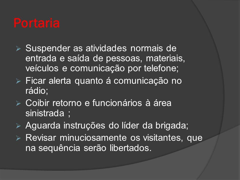 Portaria  Suspender as atividades normais de entrada e saída de pessoas, materiais, veículos e comunicação por telefone;  Ficar alerta quanto á comu