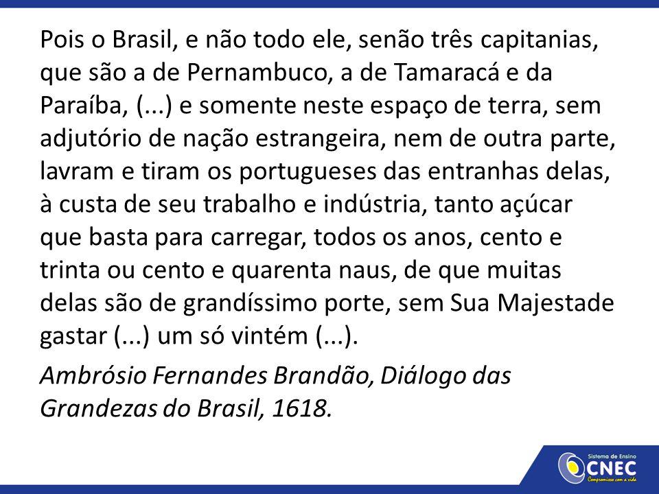 Pois o Brasil, e não todo ele, senão três capitanias, que são a de Pernambuco, a de Tamaracá e da Paraíba, (...) e somente neste espaço de terra, sem