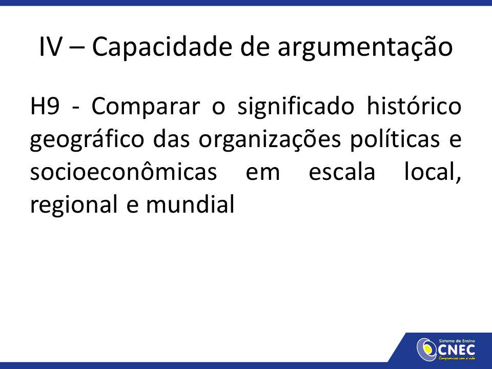 IV – Capacidade de argumentação H9 - Comparar o significado histórico geográfico das organizações políticas e socioeconômicas em escala local, regiona