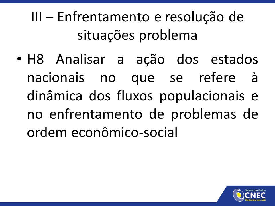 III – Enfrentamento e resolução de situações problema H8 Analisar a ação dos estados nacionais no que se refere à dinâmica dos fluxos populacionais e