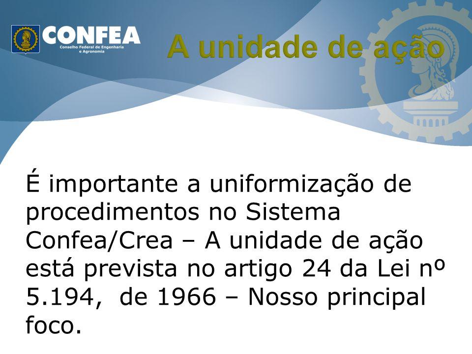 É importante a uniformização de procedimentos no Sistema Confea/Crea – A unidade de ação está prevista no artigo 24 da Lei nº 5.194, de 1966 – Nosso p