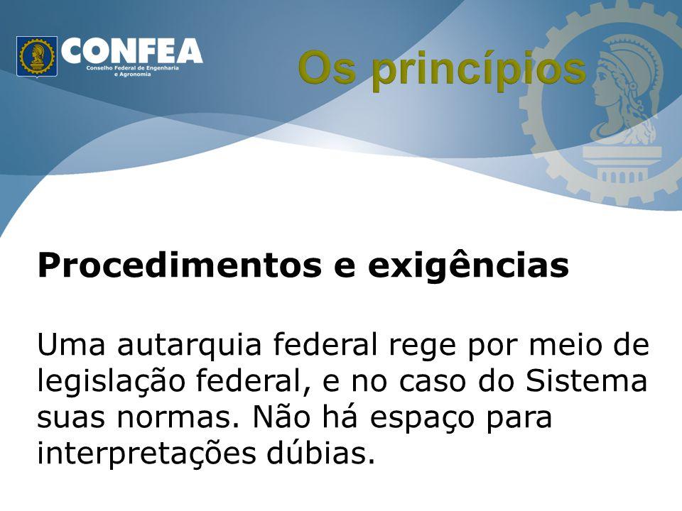 Procedimentos e exigências Uma autarquia federal rege por meio de legislação federal, e no caso do Sistema suas normas. Não há espaço para interpretaç