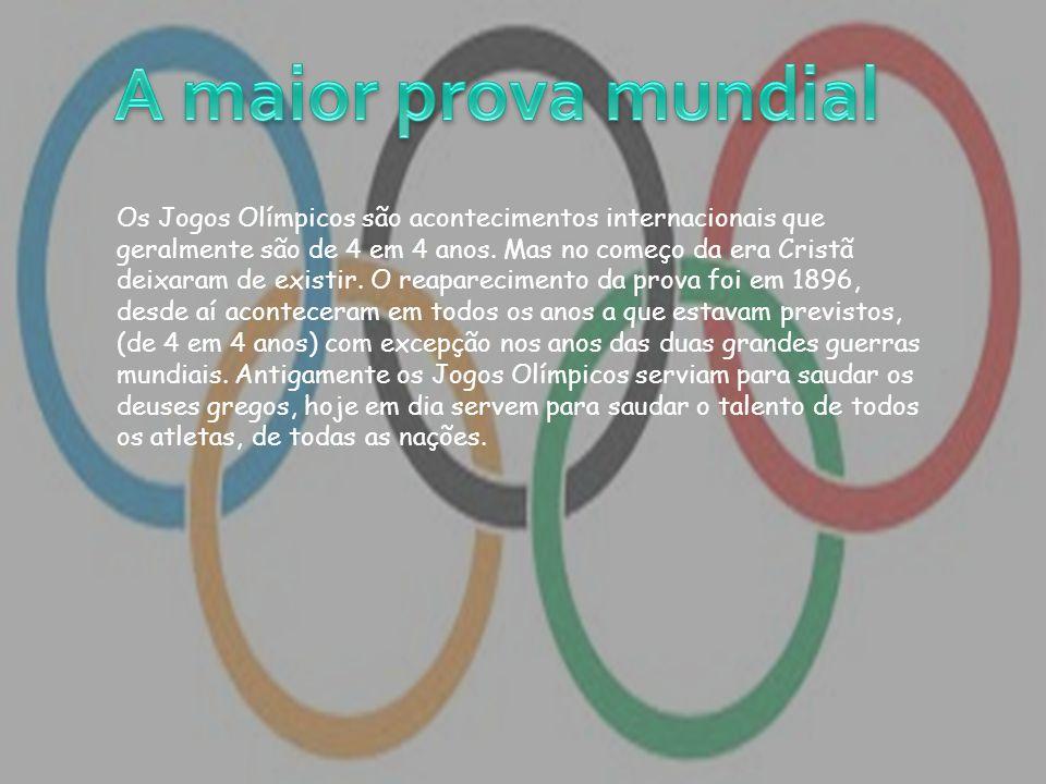 Olimpíadas antigas As primeiras olimpíadas aconteceram no ano 776 a.C., na cidade grega de Olímpia.