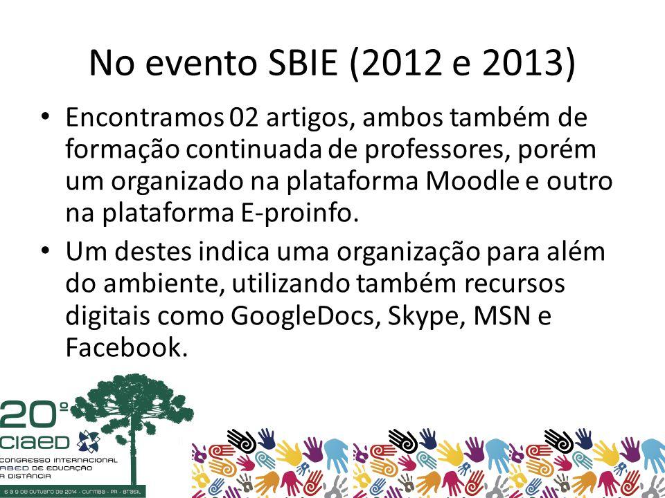 No evento SBIE (2012 e 2013) Encontramos 02 artigos, ambos também de formação continuada de professores, porém um organizado na plataforma Moodle e outro na plataforma E-proinfo.