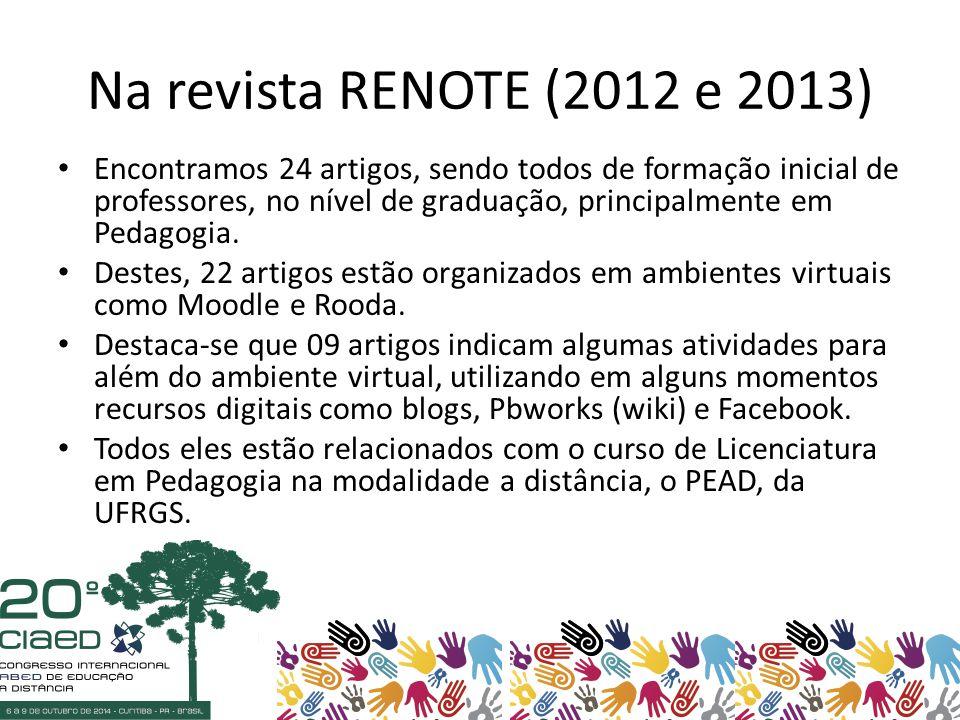 Na revista RENOTE (2012 e 2013) Encontramos 24 artigos, sendo todos de formação inicial de professores, no nível de graduação, principalmente em Pedagogia.