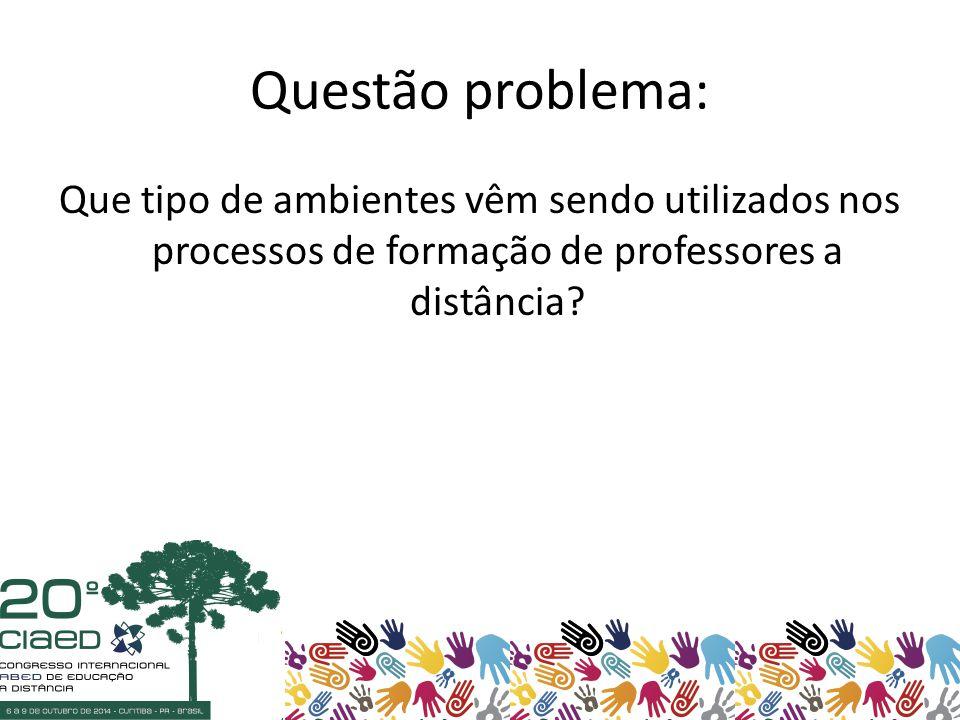 Questão problema: Que tipo de ambientes vêm sendo utilizados nos processos de formação de professores a distância