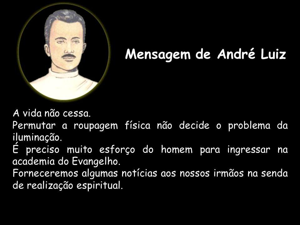 Mensagem de André Luiz A vida não cessa. Permutar a roupagem física não decide o problema da iluminação. É preciso muito esforço do homem para ingress