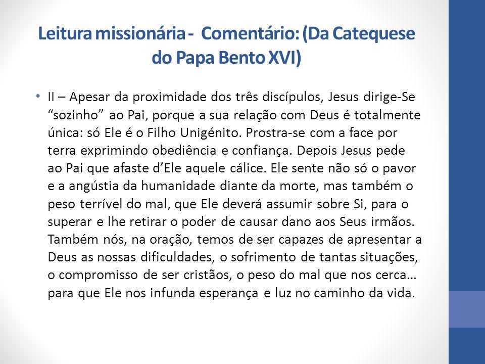 """Leitura missionária - Comentário: (Da Catequese do Papa Bento XVI) II – Apesar da proximidade dos três discípulos, Jesus dirige-Se """"sozinho"""" ao Pai, p"""