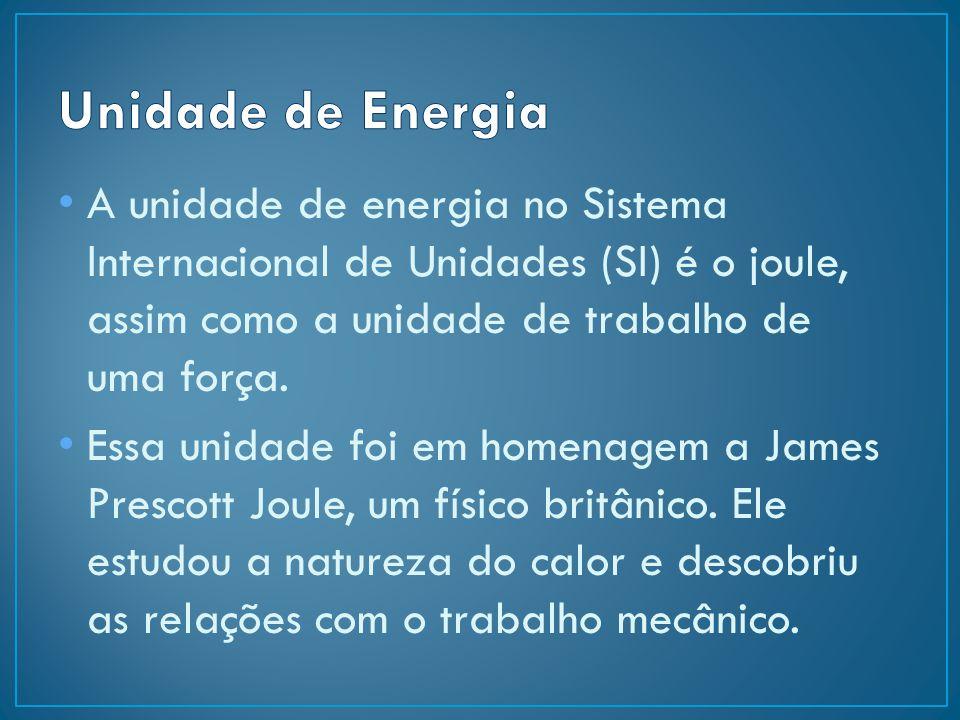 A unidade de energia no Sistema Internacional de Unidades (SI) é o joule, assim como a unidade de trabalho de uma força. Essa unidade foi em homenagem