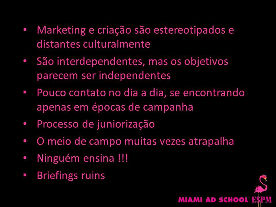 Marketing e criação são estereotipados e distantes culturalmente São interdependentes, mas os objetivos parecem ser independentes Pouco contato no dia