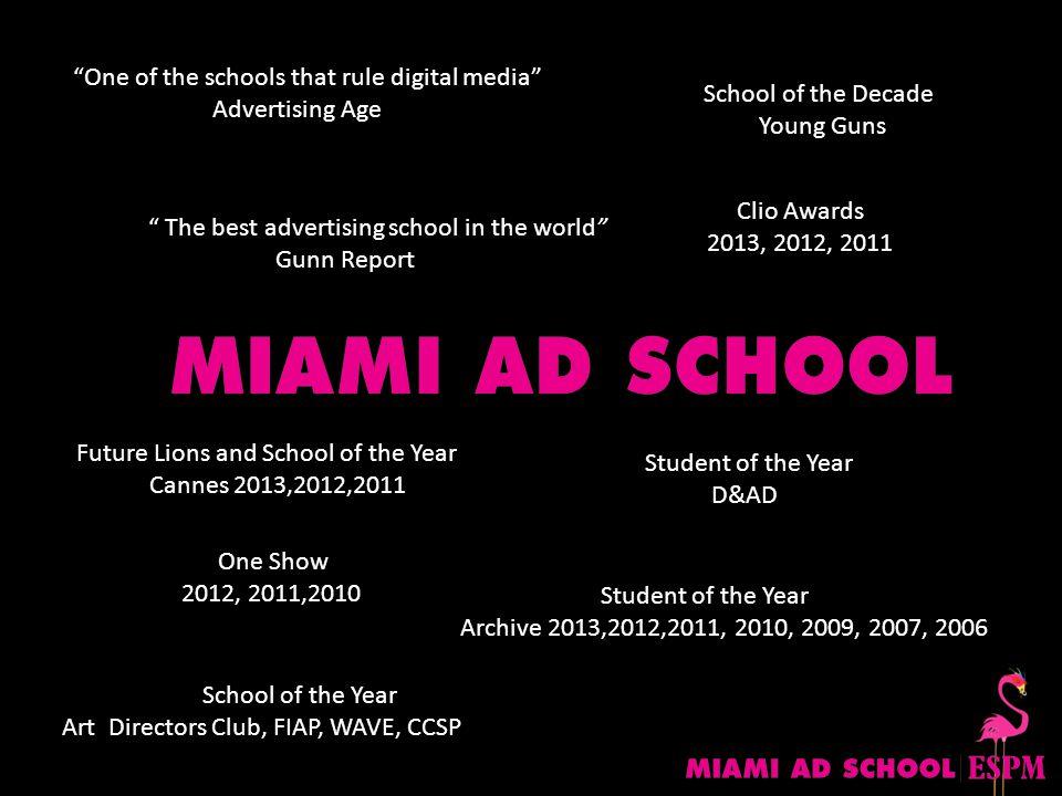 Os portfólios dos que passam pela Miami Ad School/ESPM têm um brilho diferente. Edu Lima, VP de Criação da F/Nazca S&S Gosto dela porque é uma no-bullshit school.