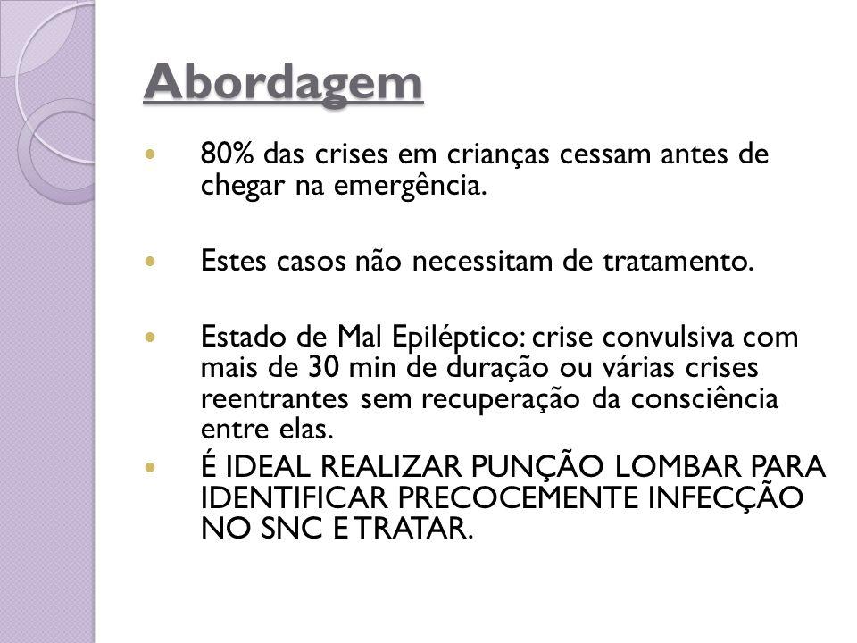 Abordagem 80% das crises em crianças cessam antes de chegar na emergência. Estes casos não necessitam de tratamento. Estado de Mal Epiléptico: crise c