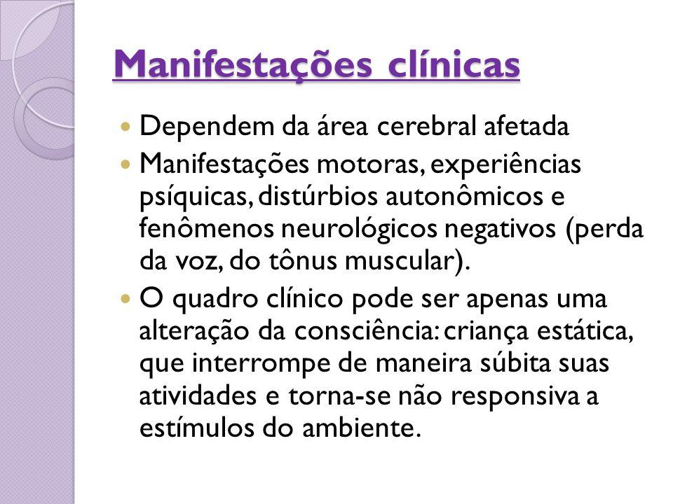 Manifestações clínicas Dependem da área cerebral afetada Manifestações motoras, experiências psíquicas, distúrbios autonômicos e fenômenos neurológico