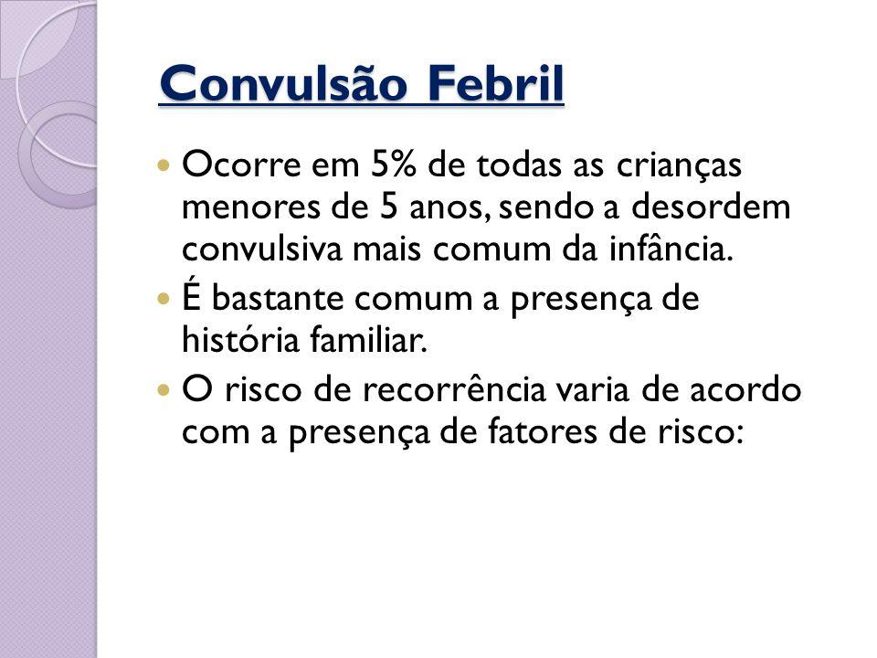 Convulsão Febril Convulsão Febril Ocorre em 5% de todas as crianças menores de 5 anos, sendo a desordem convulsiva mais comum da infância. É bastante
