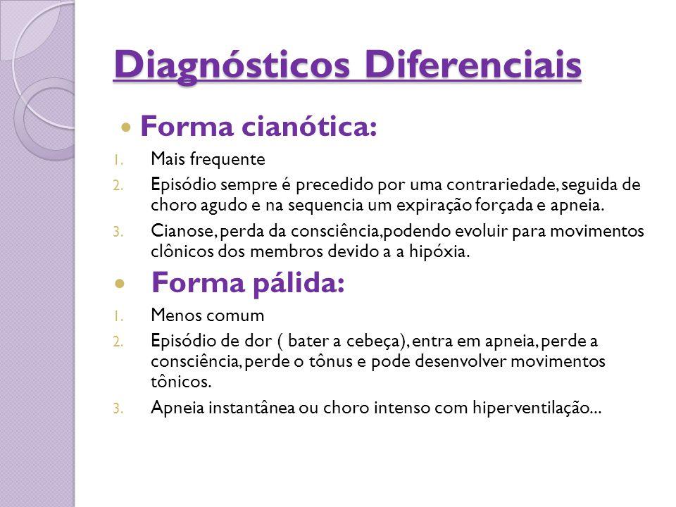 Diagnósticos Diferenciais Forma cianótica: 1. Mais frequente 2. Episódio sempre é precedido por uma contrariedade, seguida de choro agudo e na sequenc