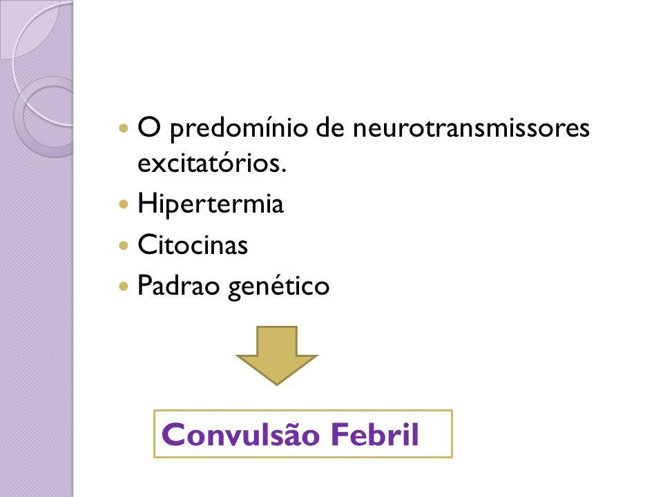 O predomínio de neurotransmissores excitatórios. Hipertermia Citocinas Padrao genético Convulsão Febril