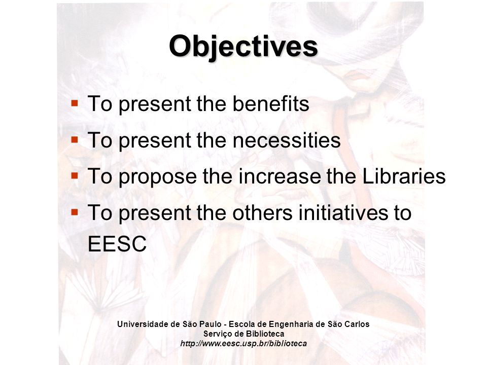 Universidade de São Paulo - Escola de Engenharia de São Carlos Serviço de Biblioteca http://www.eesc.usp.br/biblioteca Conclusions 1.The importance of Consortium at EESC was huge, presenting a upgrade in delivery service and economic aspects 2.The libraries members need some investiment yet, to obtain similar levels 3.It absolutely necessary to develop a metasearcher, using the Z39.50 protocol or similar, what works together to Celsius Network 4.To include a big library (as CISTI) or another similar library, at Consortium to supply the documents that libraries members do not have
