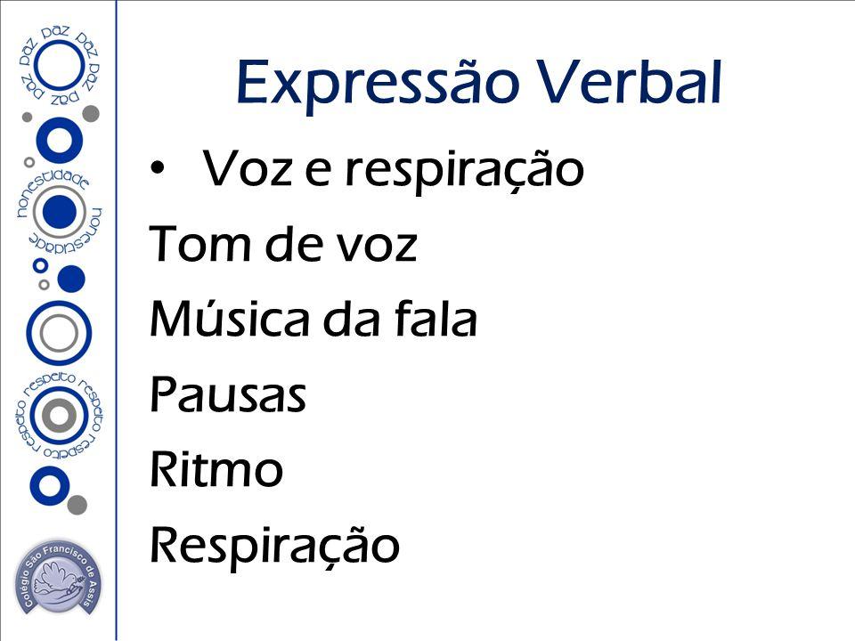 Voz e respiração Tom de voz Música da fala Pausas Ritmo Respiração Expressão Verbal