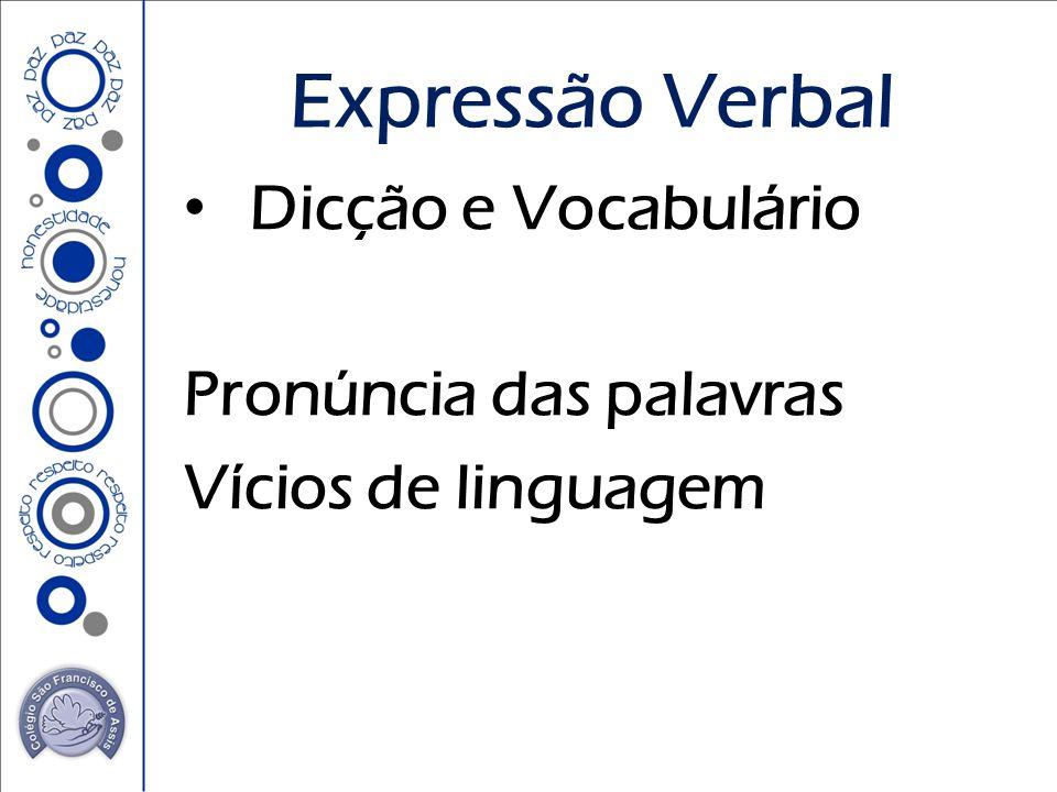 Dicção e Vocabulário Pronúncia das palavras Vícios de linguagem Expressão Verbal