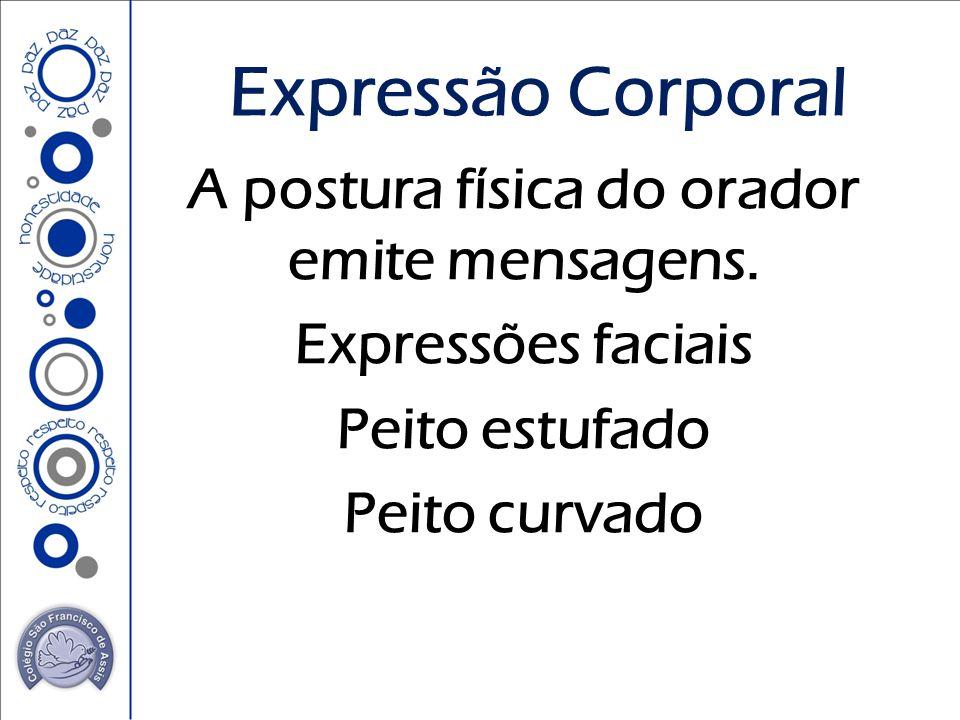 A postura física do orador emite mensagens. Expressões faciais Peito estufado Peito curvado Expressão Corporal