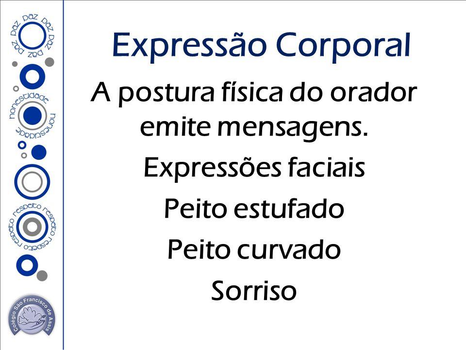 A postura física do orador emite mensagens. Expressões faciais Peito estufado Peito curvado Sorriso Expressão Corporal