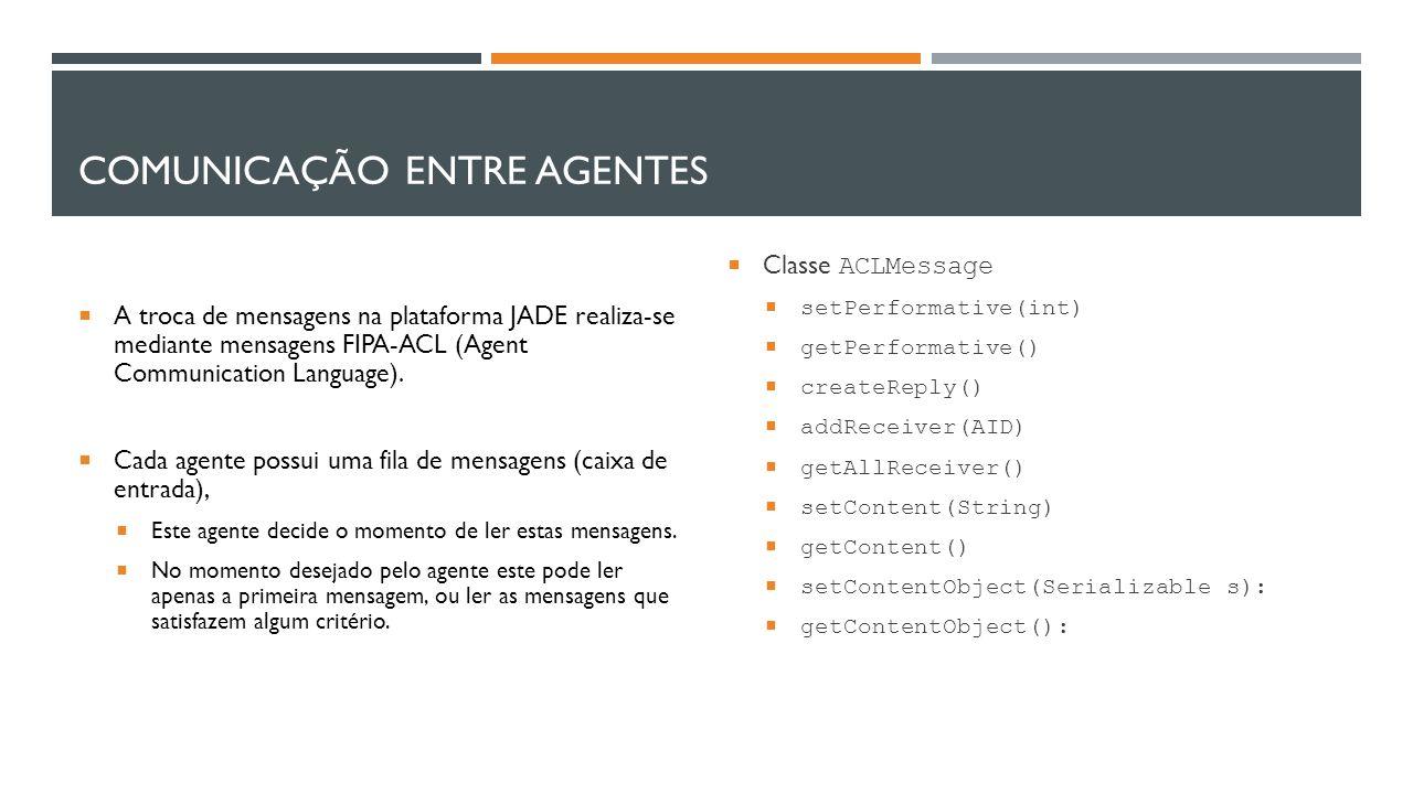 COMUNICAÇÃO ENTRE AGENTES  A troca de mensagens na plataforma JADE realiza-se mediante mensagens FIPA-ACL (Agent Communication Language).  Cada agen