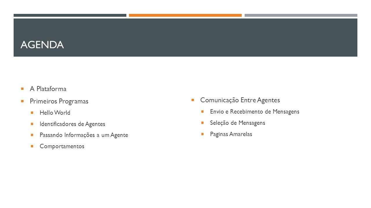 AGENDA  A Plataforma  Primeiros Programas  Hello World  Identificadores de Agentes  Passando Informações a um Agente  Comportamentos  Comunicaç
