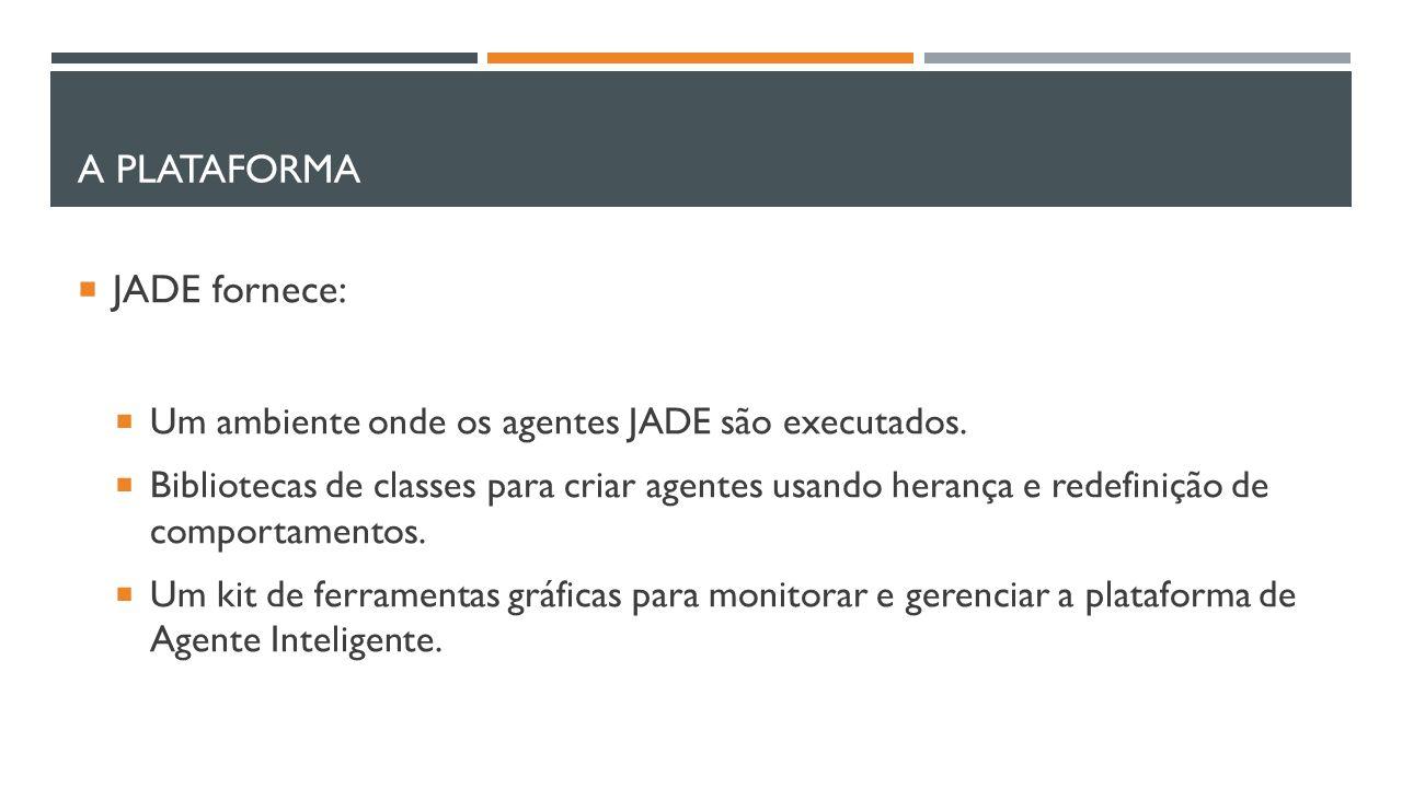 A PLATAFORMA  JADE fornece:  Um ambiente onde os agentes JADE são executados.  Bibliotecas de classes para criar agentes usando herança e redefiniç