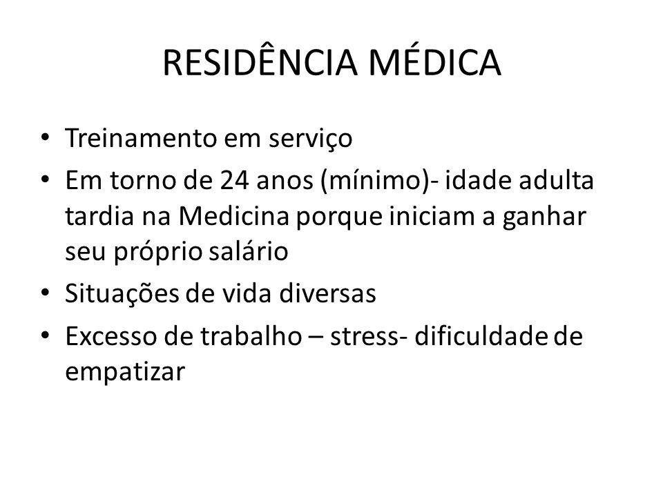 RESIDÊNCIA MÉDICA Treinamento em serviço Em torno de 24 anos (mínimo)- idade adulta tardia na Medicina porque iniciam a ganhar seu próprio salário Sit