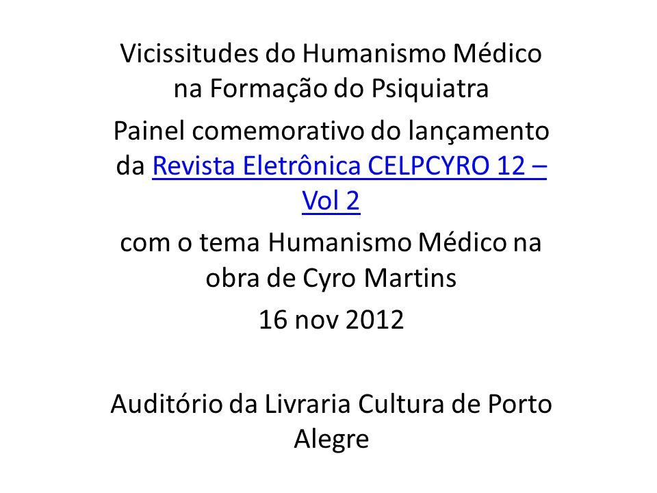 Vicissitudes do Humanismo Médico na Formação do Psiquiatra Painel comemorativo do lançamento da Revista Eletrônica CELPCYRO 12 – Vol 2Revista Eletrôni