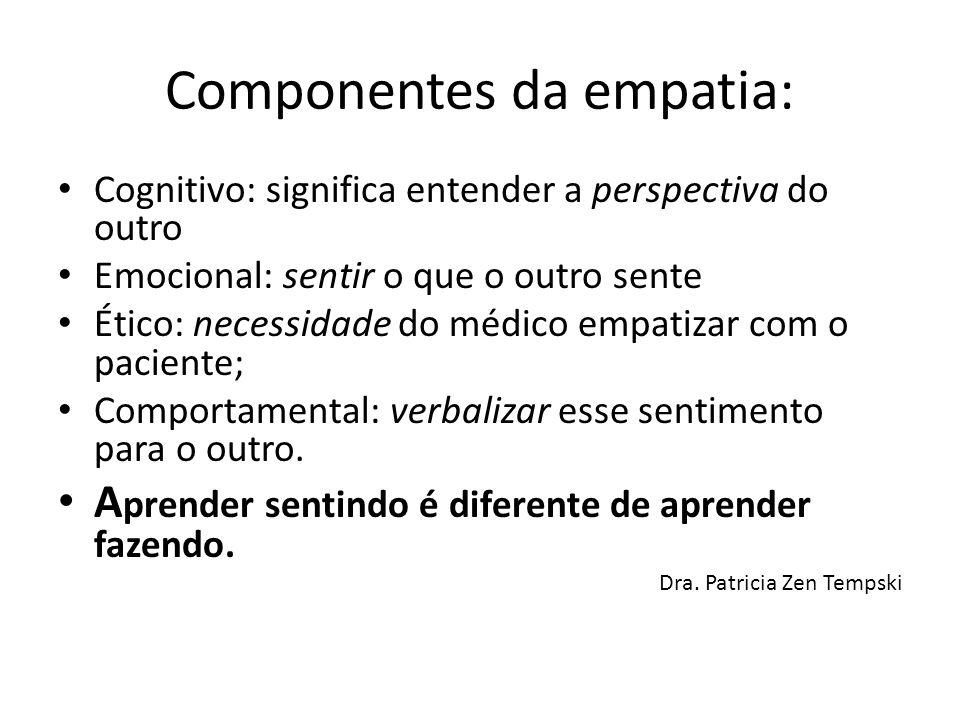Componentes da empatia: Cognitivo: significa entender a perspectiva do outro Emocional: sentir o que o outro sente Ético: necessidade do médico empati
