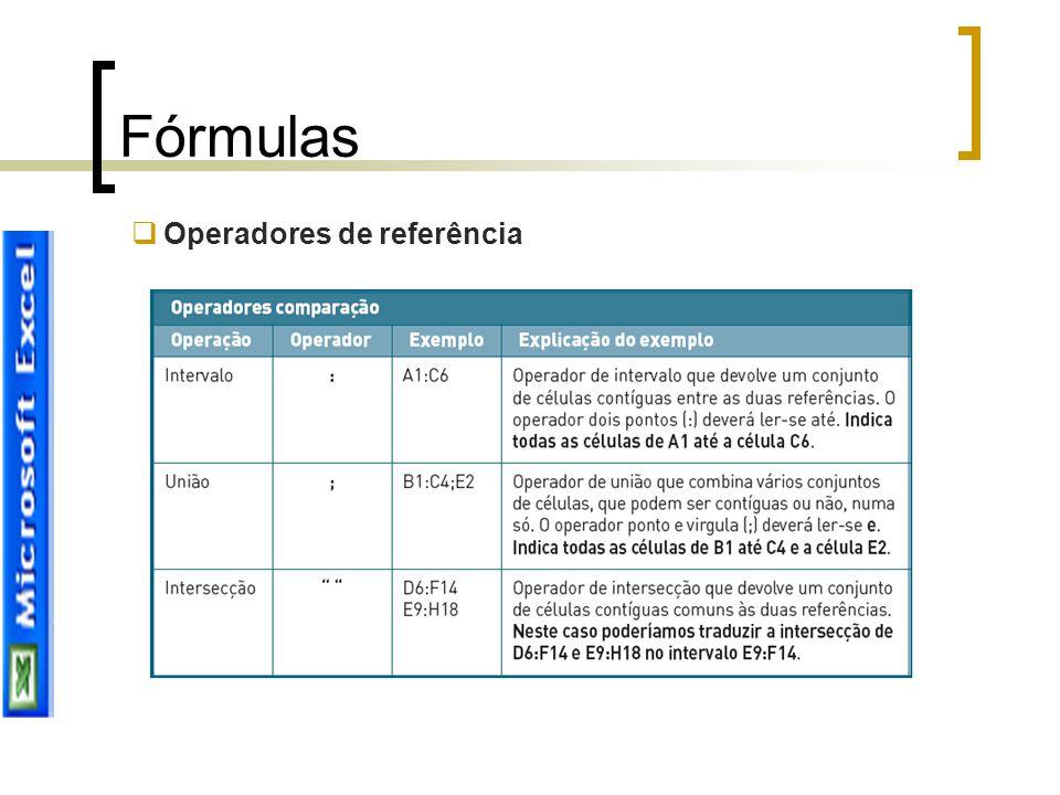 Fórmulas  Operadores de referência
