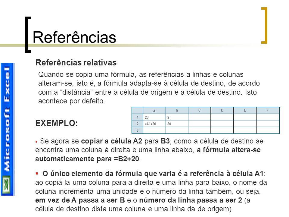 Referências relativas Quando se copia uma fórmula, as referências a linhas e colunas alteram-se, isto é, a fórmula adapta-se à célula de destino, de a