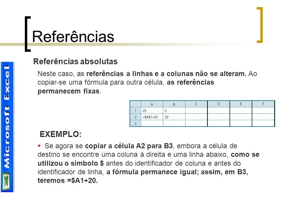 Referências absolutas Neste caso, as referências a linhas e a colunas não se alteram. Ao copiar-se uma fórmula para outra célula, as referências perma