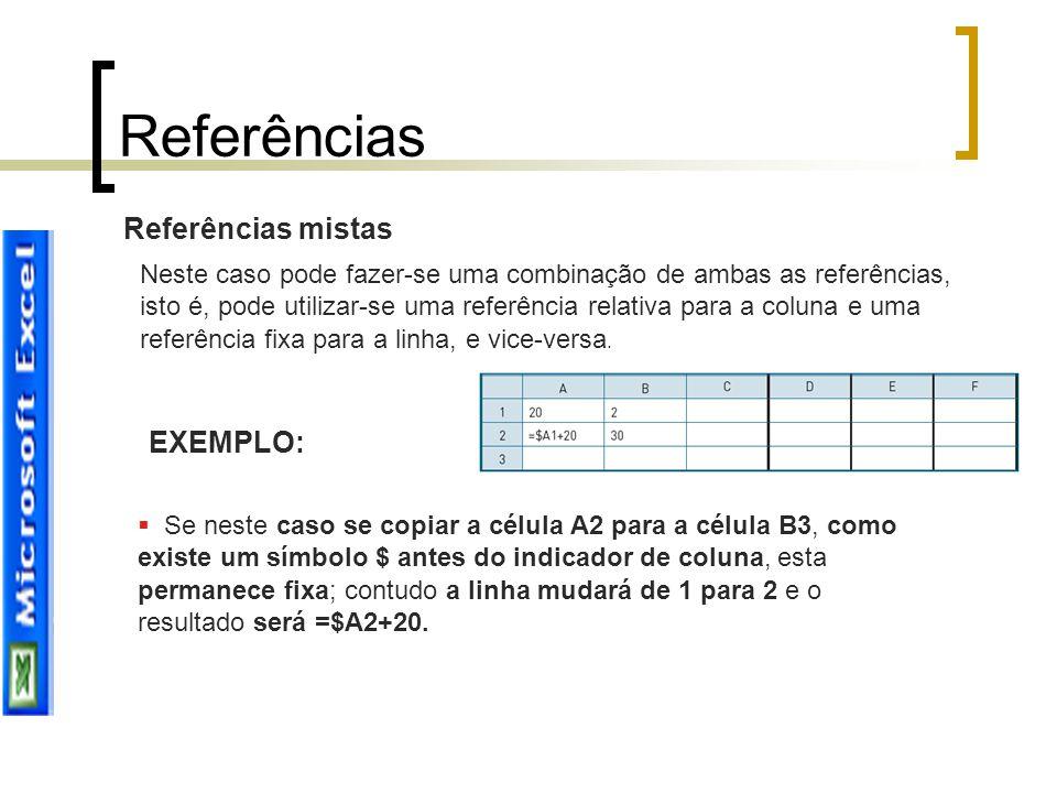 Referências mistas Neste caso pode fazer-se uma combinação de ambas as referências, isto é, pode utilizar-se uma referência relativa para a coluna e u