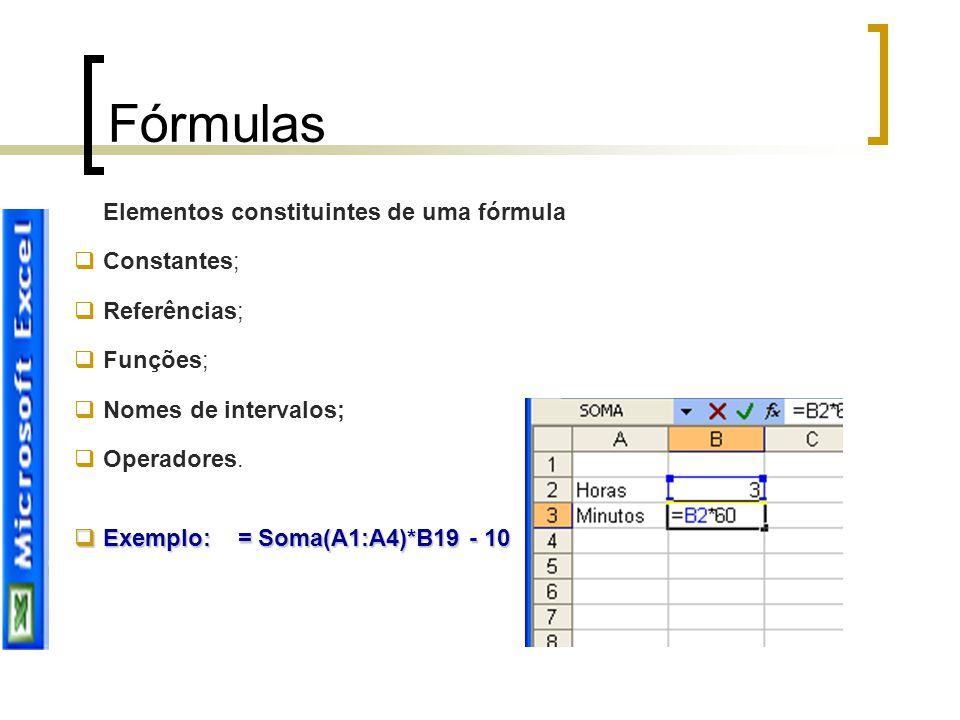 Fórmulas Elementos constituintes de uma fórmula  Constantes;  Referências;  Funções;  Nomes de intervalos;  Operadores.  Exemplo: = Soma(A1:A4)*