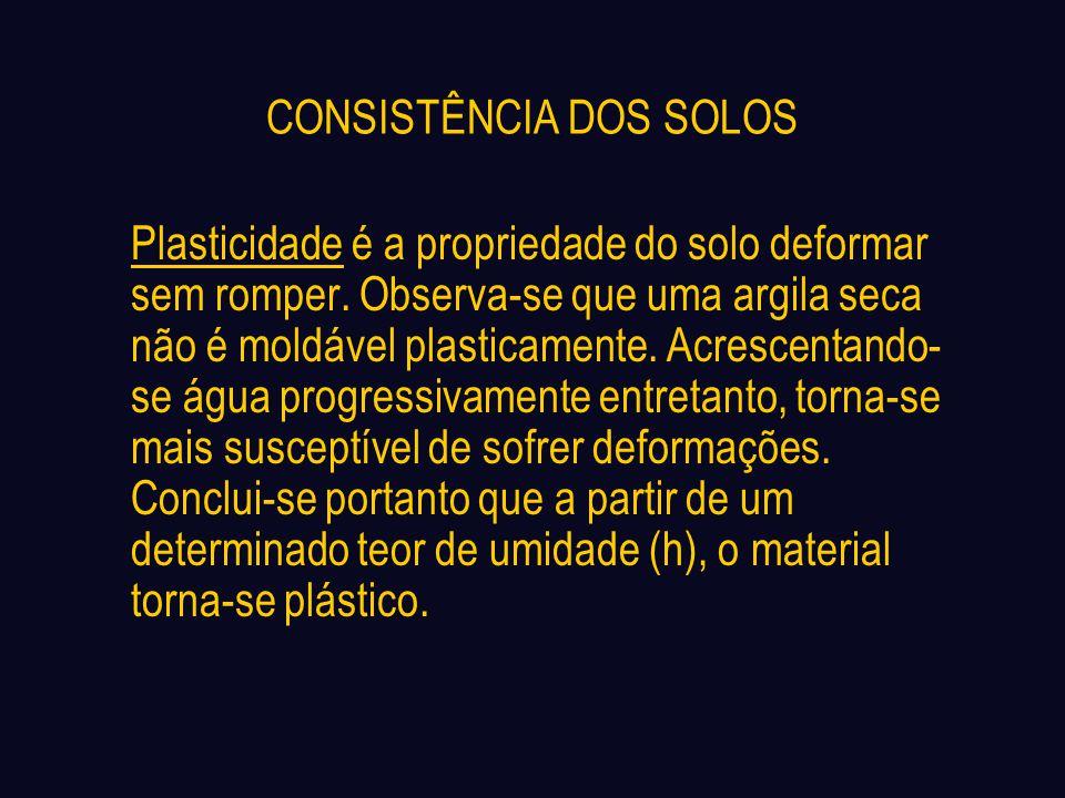 CONSISTÊNCIA DOS SOLOS Plasticidade é a propriedade do solo deformar sem romper. Observa-se que uma argila seca não é moldável plasticamente. Acrescen
