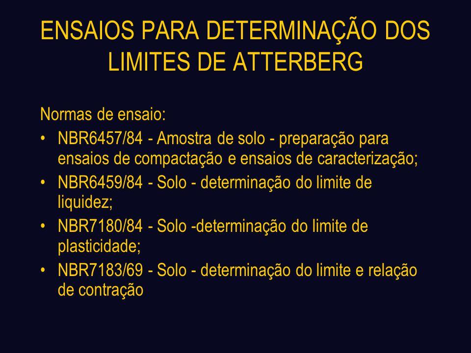 ENSAIOS PARA DETERMINAÇÃO DOS LIMITES DE ATTERBERG Normas de ensaio: NBR6457/84 - Amostra de solo - preparação para ensaios de compactação e ensaios d